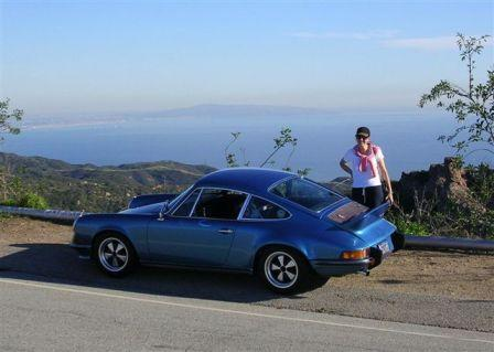 On Mulholland, with Los Angeles in the background